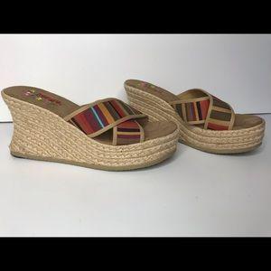 Bongo slip on fabric wedges espadrilles 10M
